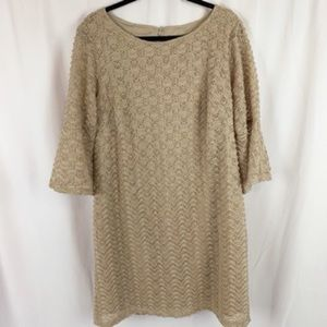 Sharagano Tan Lace Bell Sleeve Dress Plus Size 16W